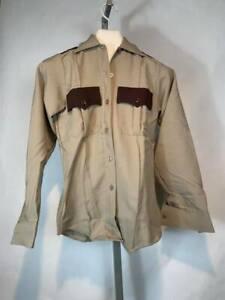 Vintage NOS Clifton Uniform Shirt NOS Police Security Brown Long Sleeve (BE)