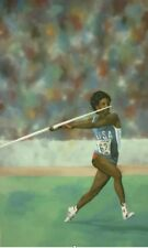 Javelin Thrower Sports Mural ~ Canvas Hand Painted ~ 10 Feet by 6 Feet!