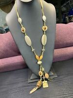"Vintage Bohemian style tan Imitation bone beaded statement  32"" Necklace"