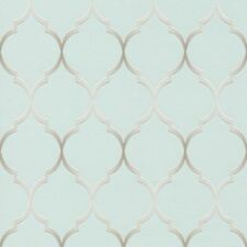 FRETWORK GEOMETRIC METALLIC WALLPAPER DUCK EGG / SILVER - RASCH 701616