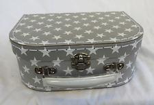 Rétro Gris et Blanc Star Design Valise Style Boîte de rangement-Small-NEUF