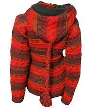 Winterjacke 100%Schurwolle Strick Kaputze rot Nepal Hippie Goa Wolljacke Gr. L