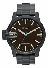Nixon A198712 Chronicle SS Matte Black Band and Case Dark Brown Dial Watch