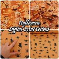"Halloween Digital Print Pumpkin Spider 100% Cotton 60"" Wide Dressmaking Fabric"