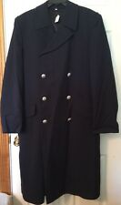 RARE VINTAGE 39 German Navy Officer long BLUE TRENCH COAT LINER EXTRA FEIN goth