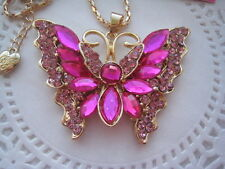 "BETSEY JOHNSON PINK CRYSTAL/R.S. BUTTERFLY PENDANT NECKLACE  26""   # 460"