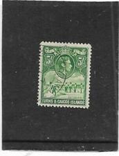 "TURKS & CAICOS ISLANDS 1938-45 5/- GREEN ""SALT INDUSTRY"" SG.204 FINE USED"