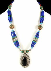 Tibetan Necklace Silver Repoussee Pendant 5 Strands SALE WAS $49.00
