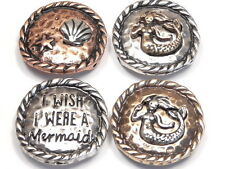 "4 - 2 HOLE SLIDER BEADS SEA SHELL STARFISH ""I WISH I WERE A MERMAID"" MIXED METAL"