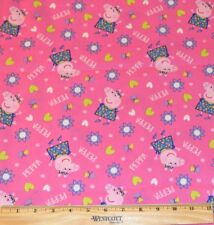 PEPPA PIG FABRIC!  BY THE HALF YARD! QUILTING~DOLL CLOTHES! PINK~HEARTS~FLOWERS