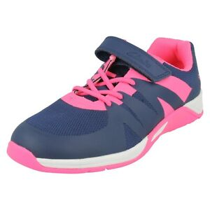 GIRLS JUNIOR CLARKS TRACE STAR HOOK & LOOP SHOES LACES SPORTS TRAINERS SIZE