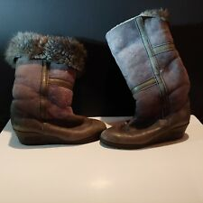 Womens 8 Monol suede grey wedge boots