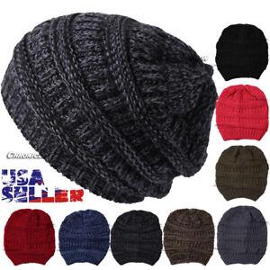 Knit Beanie Cap Stretch Slouchy Hat Winter Warm Snow Ski Beret Solid Women Men