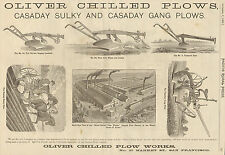 LARGE OLD 1885 OLIVER CHILLED CASADAY WALKING PLOW & SULKY PLOW AD SAN FRANCISCO