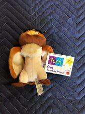 "Rare New MATTEL Disney OWL Winnie the Pooh Friend 6"" Beanbag Plush Collectible"