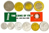 ITALY FULL SET OF 10 COINS REPUBBLICA ITALIANA 1946 - 2001 ITALIAN CURRENCY LOT