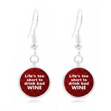 Red Wine glass Frea Earrings Art Photo Tibet silver Earring Jewelry #472