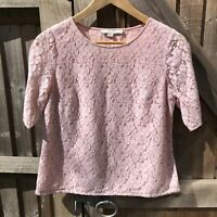 Boden Pink Sophie Lace Top Size 12 VGC