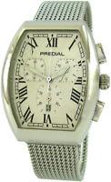 PREDIAL Tonneau Chronograph 24h Quarz Armbanduhr Edelstahl Milanaise Band silber