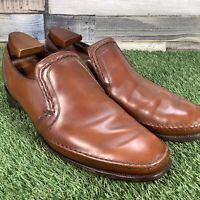 UK10 VTG Barker Tan Leather Slip On Stitched Loafer - Made In England - EU44