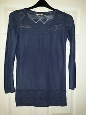 Fatface Size 10 blue Knit Knitted Winter Jumper Dress long sleeve tunic