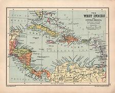 1934 MAP ~ WEST INDIES & CENTRAL AMERICA CUBA JAMAICA HAITI PANAMA HONDURAS