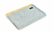 Blue Wool Throw Tweedmill Blanket Sky Blue Crosshatch Recycled