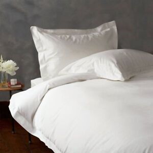 QUEEN 1500 THREAD COUNT 3 PIECES WHITE SOLID DUVET SET 100% EGYPTIAN COTTON