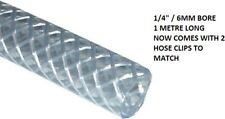 "PVC CLEAR BRAIDED FUEL HOSE 1/4"" ( 6MM ID) 1 METRE LONG  ( NOW WITH HOSE CLIPS )"