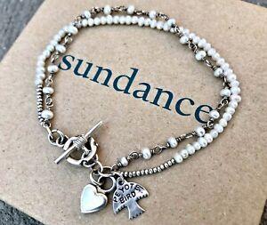 "NEW $128 Sundance 7-1/4"" Sm. Pearl Sterling Silver Beaded Peyote Bird Bracelet"