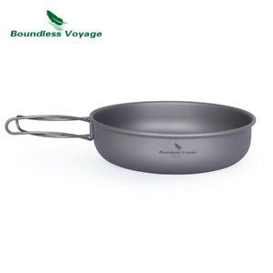 Titanium Frying Pan with Folding Handle Ultra-light Camping Cookware Skillet