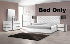 Modern Bedroom Headboard W Leather Crystals Exterior 1 Pc Queen Size Bed