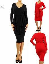 D41 Womens Black Size 16/18 Formal Evening Office Work Midi Pencil Plus Dress