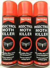 3 x Rentokil Insectrol Moth Killer Fast Acting Spray Kills Moths Fly Wasps 250ml