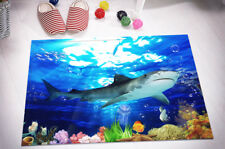 "15X23"" Kitchen Bath Doormat Non-Slip Mat Rug Bathmats Carpet Sea Danger Shark"