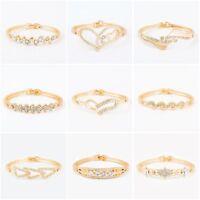 Women Fashion Gold Plated Rhinestone Love Heart Bangle Cuff Bracelet Jewelry