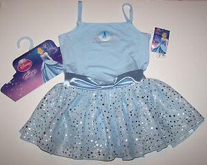 Nwt New Capezio Disney Princess Leotard Dress Cinderella Hologram Blue Cute Girl