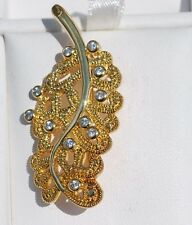 14K Yellow Gold Over Sterling Silver .925 Cubic Zirconia Brooch Pin