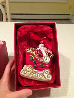 New in Box LENOX YULETIDE TREASURES 2001 Collectible Ornament SANTA IN SLEIGH