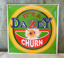 "It's A DAZEY Churn Butter Churn Enamel Advertising Sign 12"" X 12"" Kitchen EXC!"