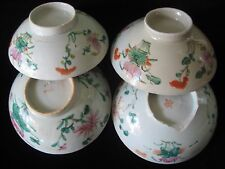 Antique Chinese Famille Rose Porcelain Bowls w/ Painted Floral