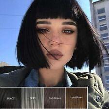 Short Bob Style Wig Women's Short Straight Full Hair Wig Cosplay Black Brown Wig