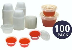 100 x  2oz / 4oz Sauce Pots And Lids Round containers & Lids Manufacture Sealed
