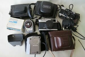 A COLLECTION OF 6 VINTAGE CAMERAS - ROLLEI, OLYMPUS, ETC