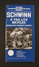 Schwinn 1985 Xtra Lite Tempo Super Sport Peloton Voyageur bicycle owner's manual