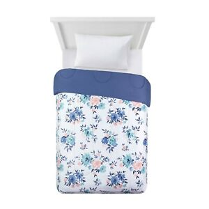 Reversible Floral Print to Solid Size Twin / TwinXL Bed Comforter in a Bag White