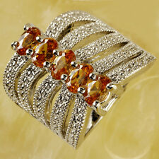 Band Jewelry Oval Cut Morganite Gemstone Silver Women Men Finger Ring Size 7