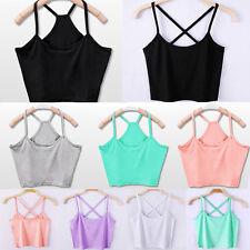 New Women Plain Blouse Cami Vest Stretchy Top Ladies Rib Strap T-Shirt Size 4-10