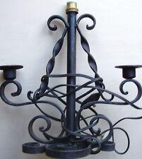 luminaire vintage fer forgé électrique et à 2 bougeoirs traditionnel de table