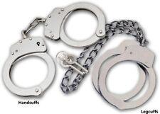 SILVER COMBO Set Handcuffs Hand & Leg Cuffs !! Double Locking REAL